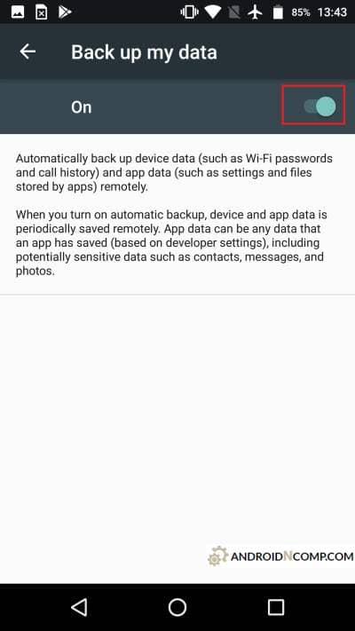 activation of data saving