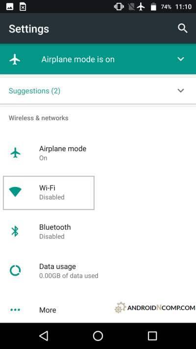 basic settings menu.
