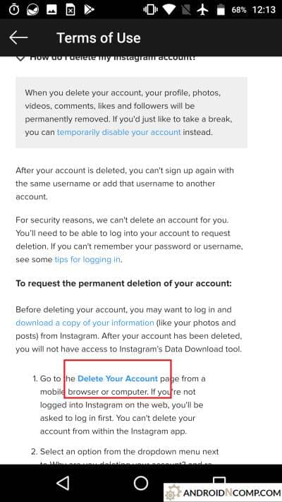 the link to delete your account.