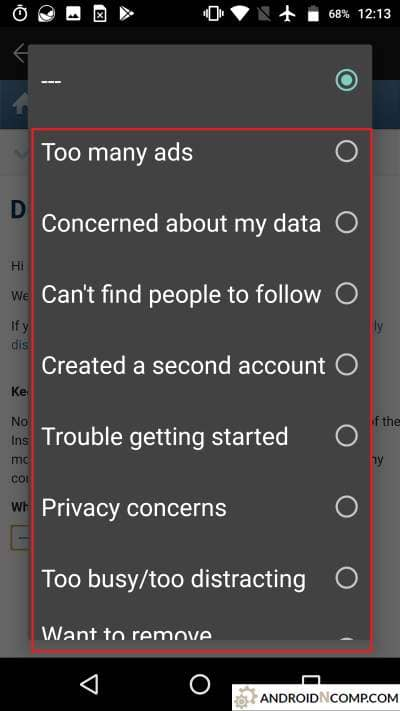 Variants of the reasons for the deletion of your account.
