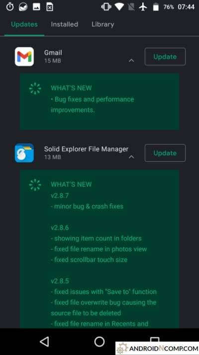 which gives updates to the application