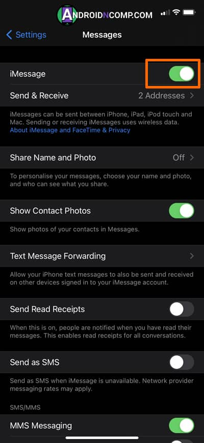 activation of messages